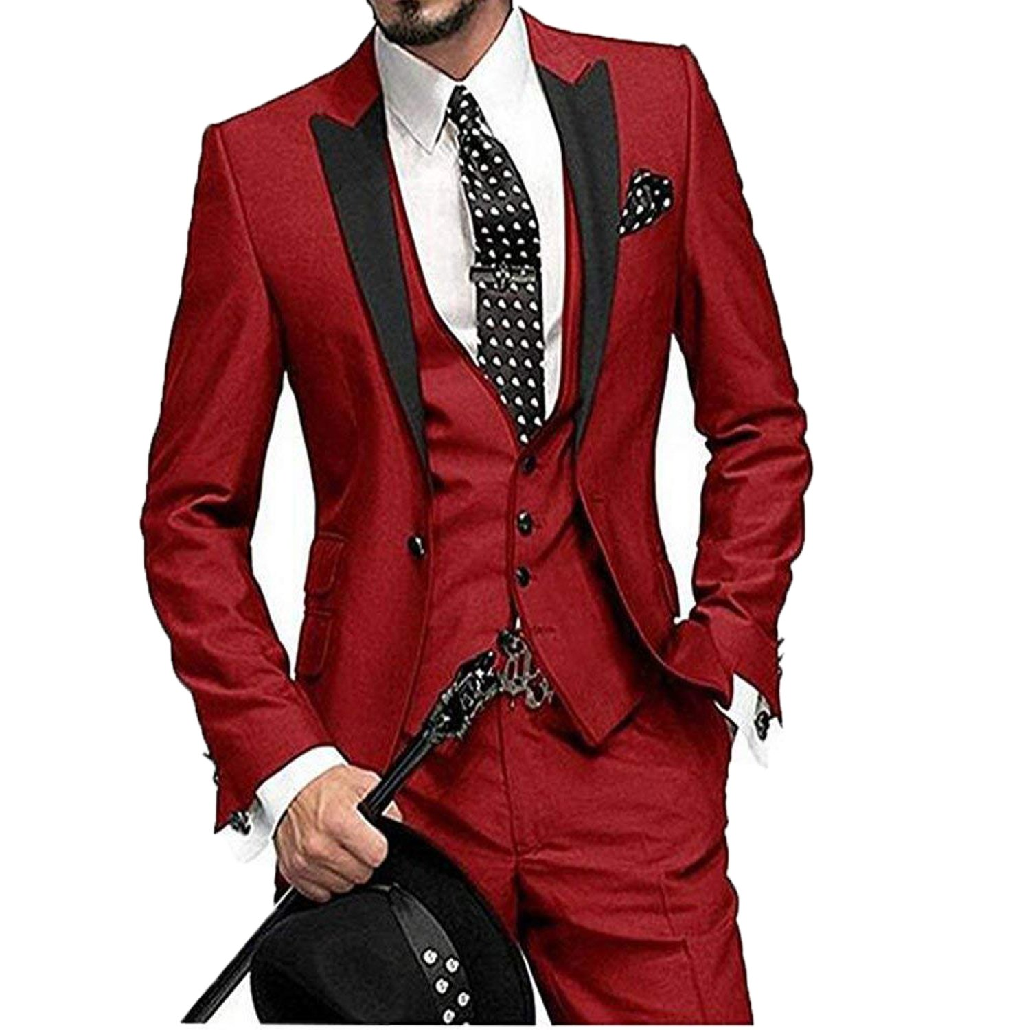 Fenghuavip One Button 3 Pieces Wedding Suits Lapel Men Suits Groom Tuxedos