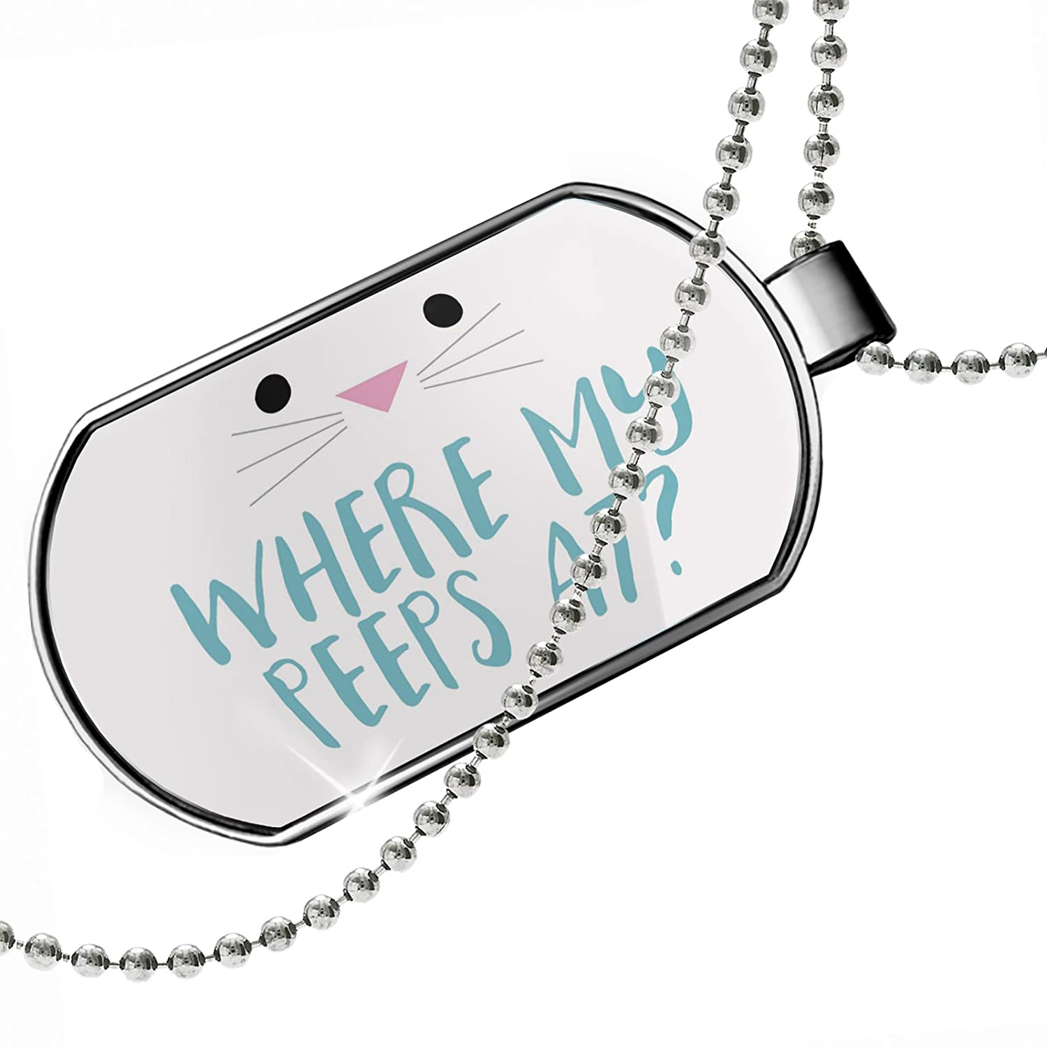 Easter Bunny Face Dogtag Necklace NEONBLOND Personalized Name Engraved Where My Peeps at