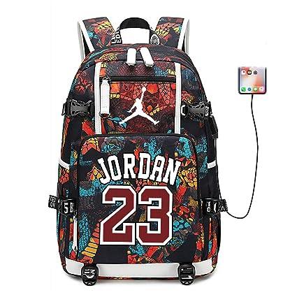 Lorhs store Jugador de Baloncesto Estrella Michael Jordan Mochila multifunción Estudiante de Viaje Mochila para fanáticos para Hombres Mujeres