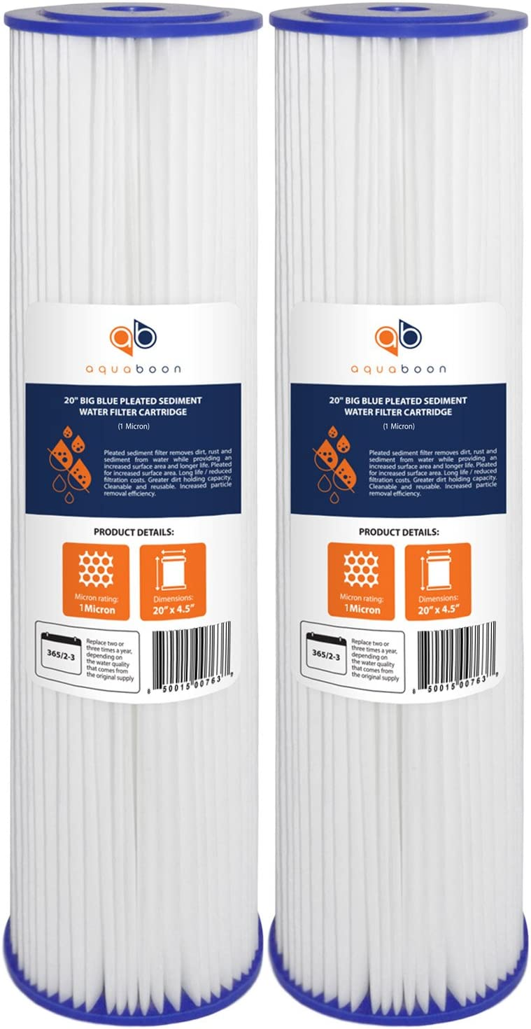 """Aquaboon 1 Micron 20"""" Big Blue Pleated Sediment Water Filter Replacement Cartridge 
