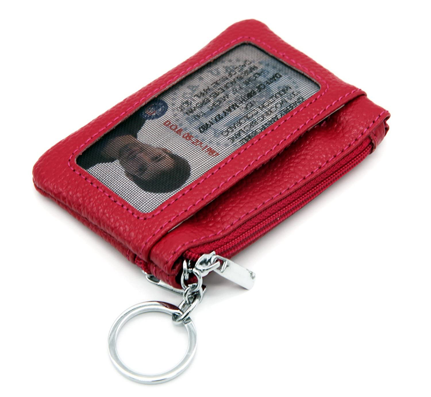 DEEZONE Womens Genuine Leather Coin Purse Pouch Change Wallet with ID Window /& Key Ring 10473983