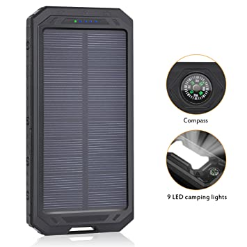 Cargador Solar 12000mAh, ADDTOP Power Bank Doble USB con LED,Batería Externa Compatible para iPhone, iPad, Samsung Galaxy , androide y otros ...