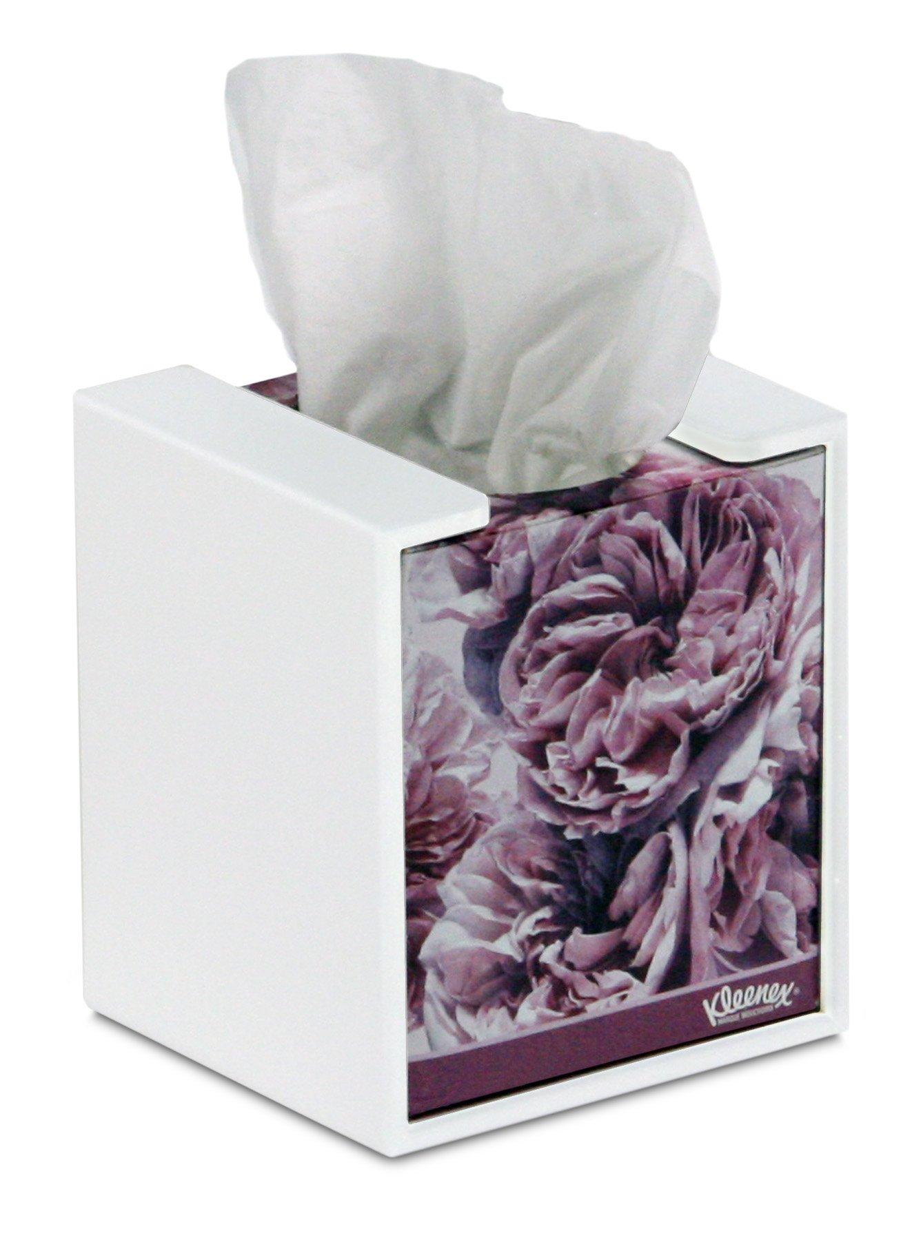 TrippNT 50760 Plastic Wall-Mountable Cube Kleenex Box Holder, 5'' Width x 5'' Height x 5'' Depth
