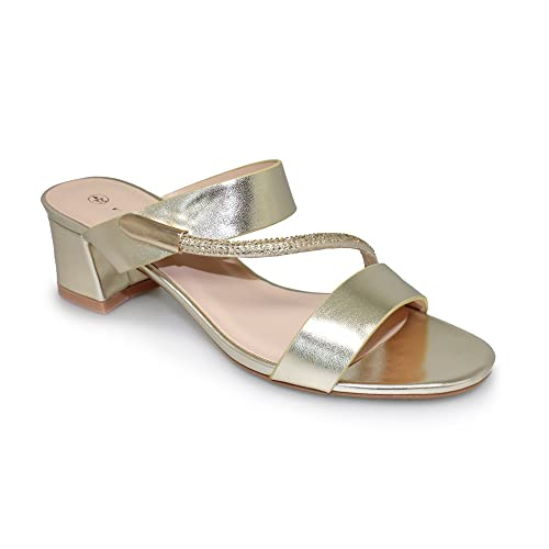 8299560ac8bc7 Lunar Womens Lynx Slip On Metallic Sandal with Low Block Heel in Gold Or  Silver,