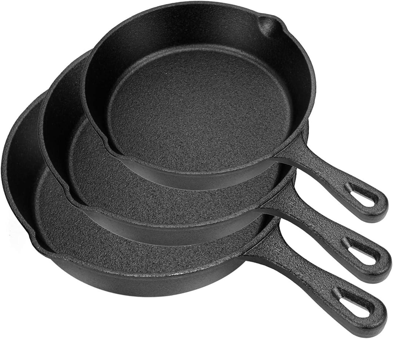 Lawei Set of 3 Cast Iron Skillets - 10