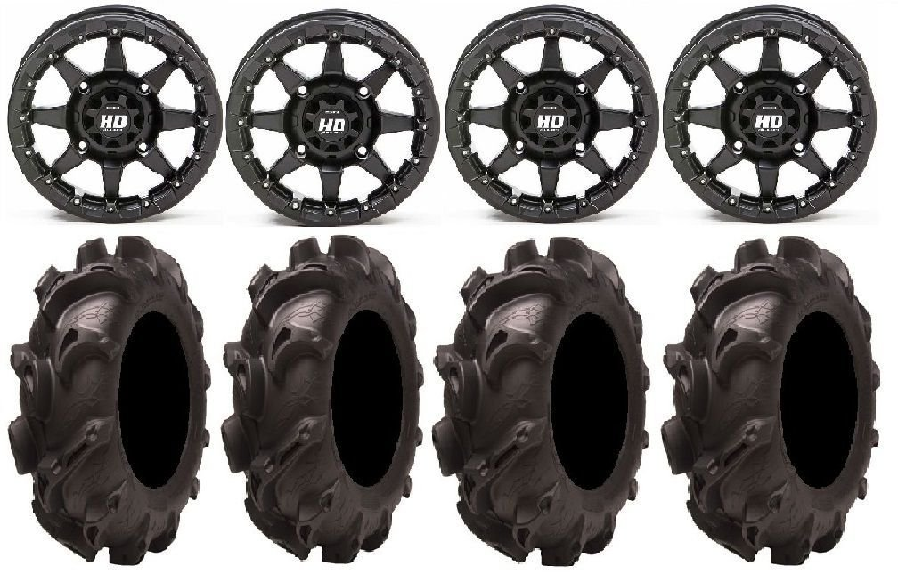 Bundle - 9 Items: STI HD5 14'' Beadlock MB Wheels 30'' Monster Mayhem Tires [4x110 Bolt Pattern 10mmx1.25 Lug Kit]