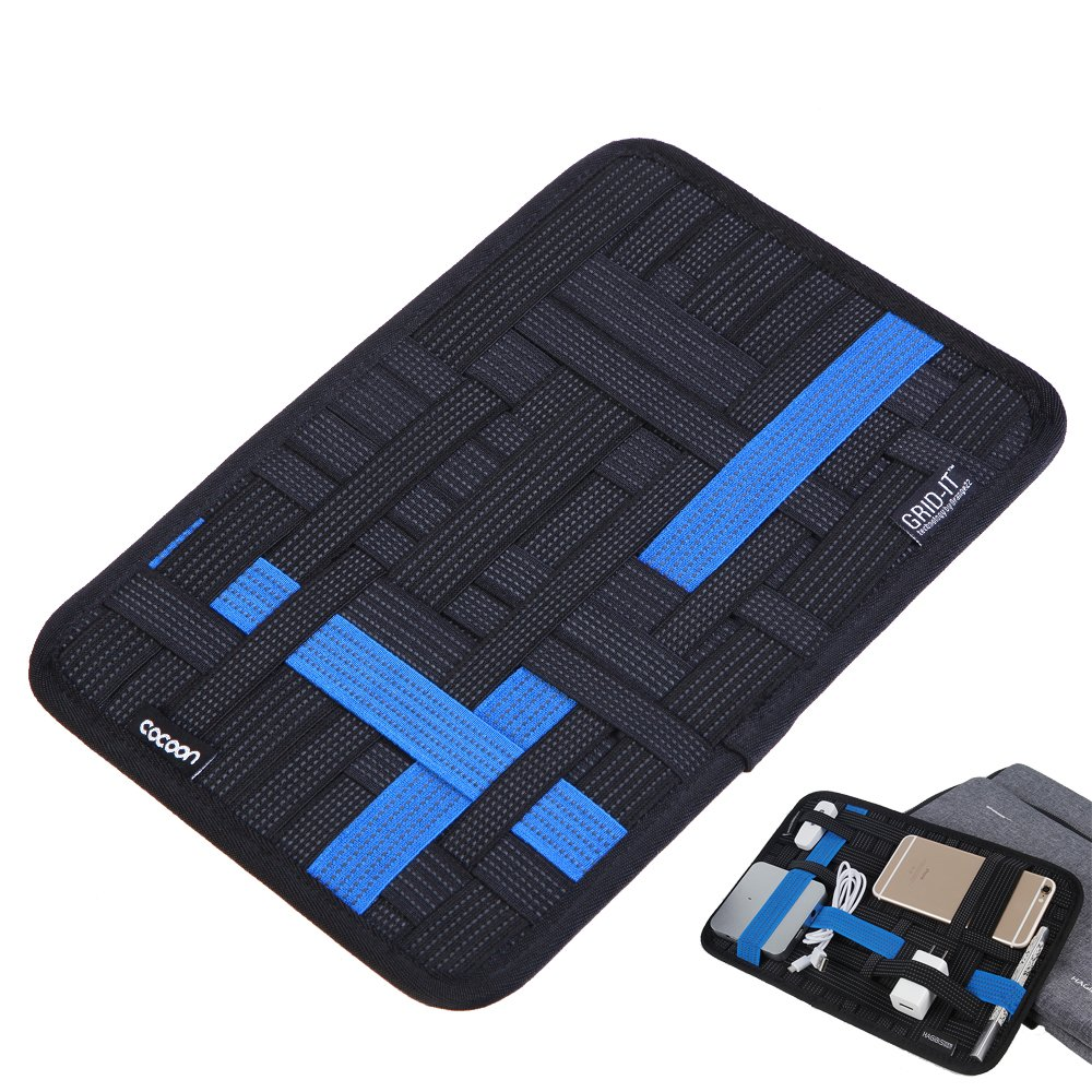 Electronics Organizer Case with Tablet Pocket Travel Gear Management Organize Bag for Electronics Accessories(Black-Bleu)