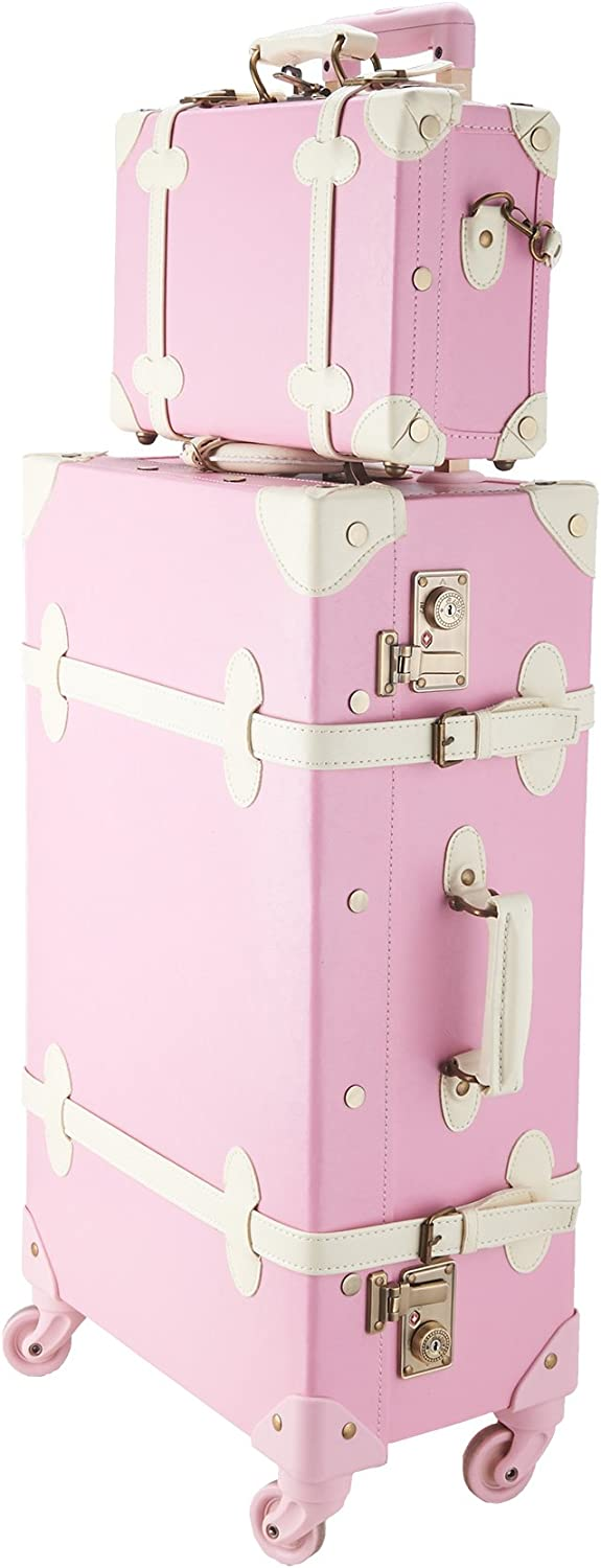 """CO-Z Premium Vintage Luggage Sets 24"""" Trolley Suitcase and 12"""" Hand Bag Set with TSA Locks (Pink + Beige) (12"""" +24"""" Pink)"""