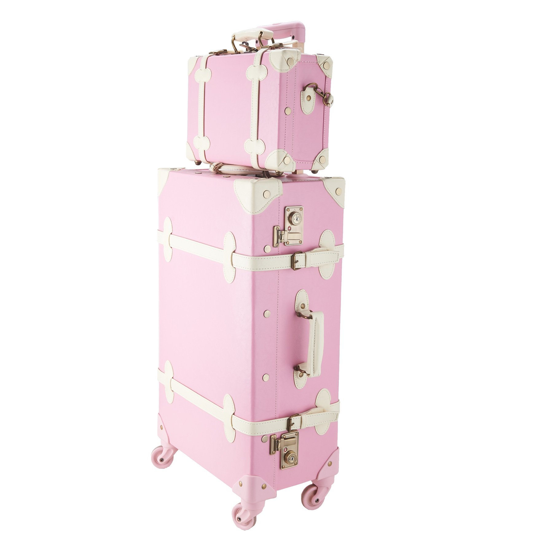 CO-Z Premium Vintage Luggage Sets 24'' Trolley Suitcase and 12'' Hand Bag Set with TSA Locks (Pink + Beige) (12'' +24'' Pink)