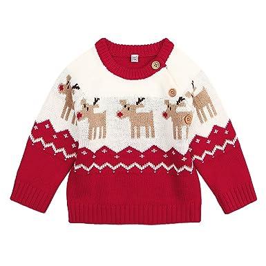 ce743fe378fb Amazon.com  DEARWEN Unisex Baby Cute Deer Pattern Knit Pullover ...