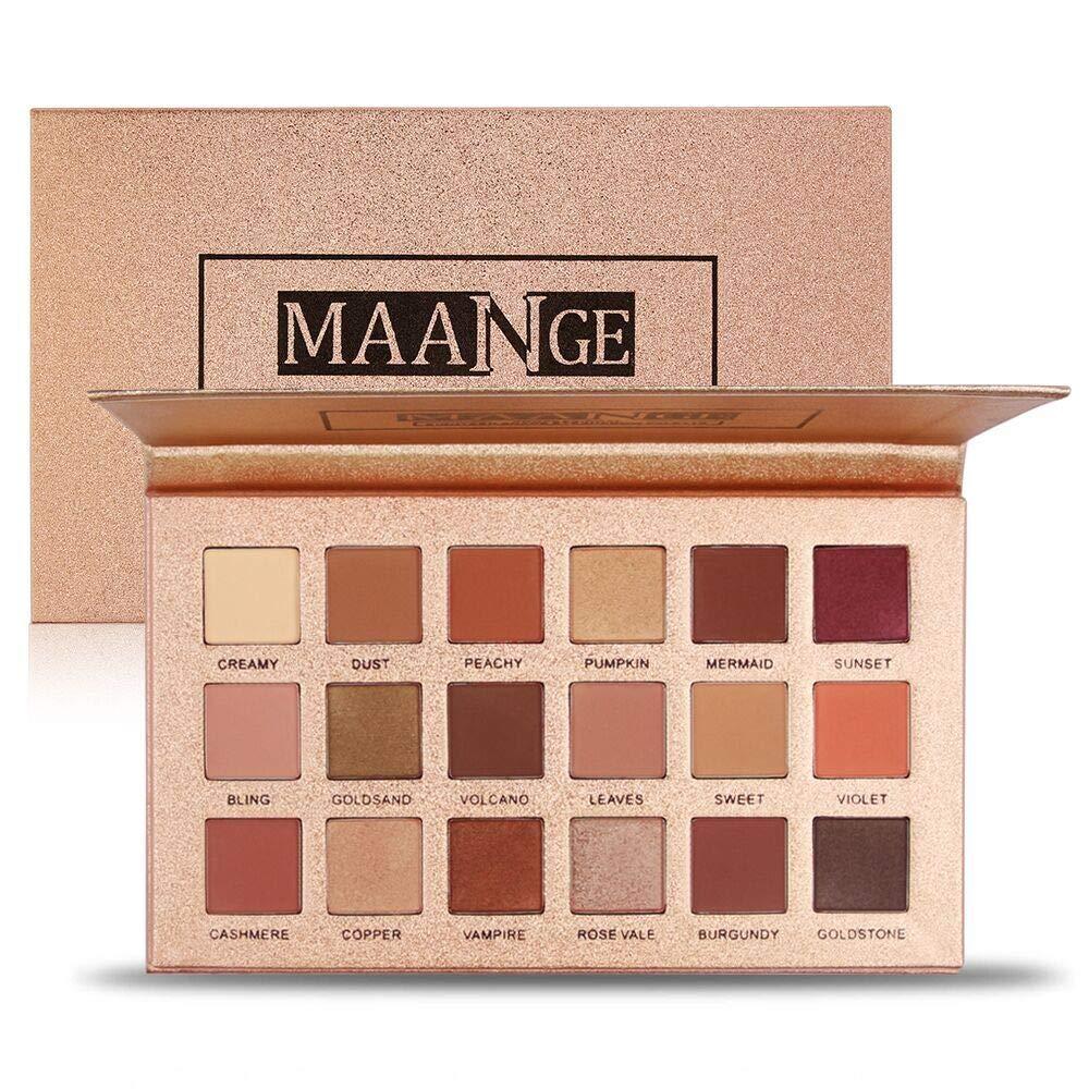 MAANGE Eyeshadow Palette 18 Colors Highly Pigmented Eye Shadow Palette, 11 Matte + 7 Shimmer, Long Lasting Waterproof Colorful Eyeshadows Cosmetics