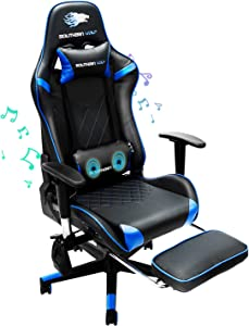 SOUTHERN WOLF Game Chair,Ergonomically Designed Massage Game Chair,Adjustable and Rotating Office Chair,Large Game Chair with Head and Lumbar Support(Black and Blue)