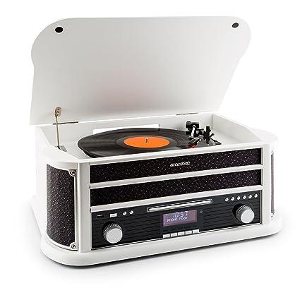 auna Belle Epoque 1908 - Tocadiscos Retro , Equipo estéreo , Radio Digital Dab+ , Radio , Bluetooth , Reproductor de CD , MP3 , RDS , Casete , USB , ...
