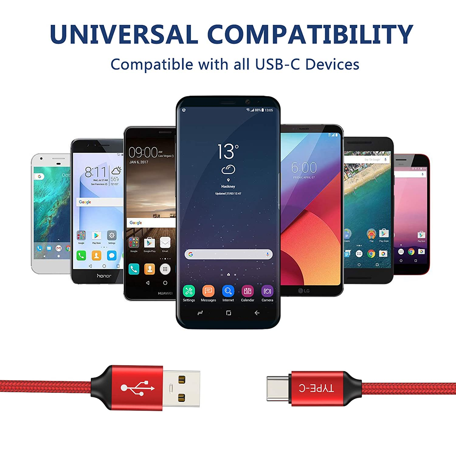 USB Type C Cable,3FT 2PACK,USB-C Charging Cord Fast Charging Compatible Samsung Galaxy Note 9 8 S10 S9 S8 Plus,Google Pixel 2 XL,LG G7 V35 ...