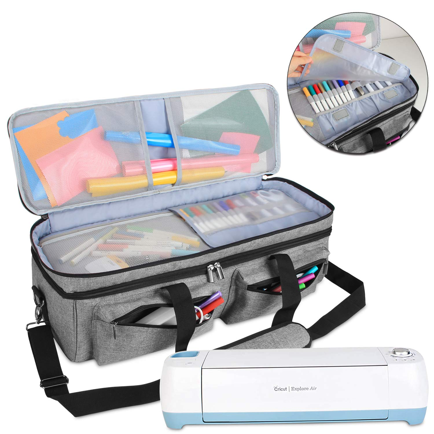 Luxja Double-Layer Bag Compatible with Cricut Explore Air (Air2) and Maker, Carrying Bag Compatible with Cricut Die-Cut Machine and Supplies (Bag Only, Patent Pending), Gray