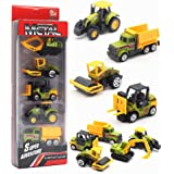 5 Pieces Construction Excavator Dump Truck Car Vehicle Mini Plastic Model Playset Preschool Learning Toys Set for Boys Kids Toddler Favors Die Cast Deluxe Set