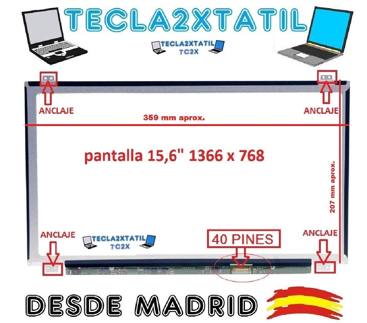 Pantalla Compatible DE Y para PORTATIL HP 15-R003ns 15,6
