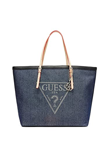 26f62192c6a1 Amazon.com  GUESS Women s Delaney Large Classic Tote Blue Denim ...