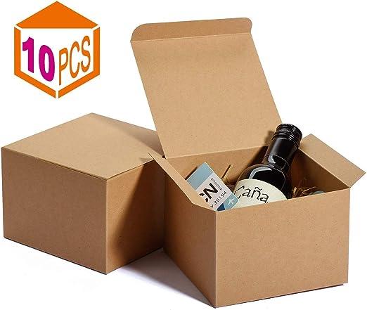 lsim - Cajas de Papel Kraft con Tapa para Envolver Regalos de Padrino de Novio, Caja de