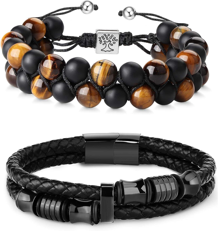 Mens Bracelet Jewelry Beaded Chakra Lava Rock Leather for Men Bracelets