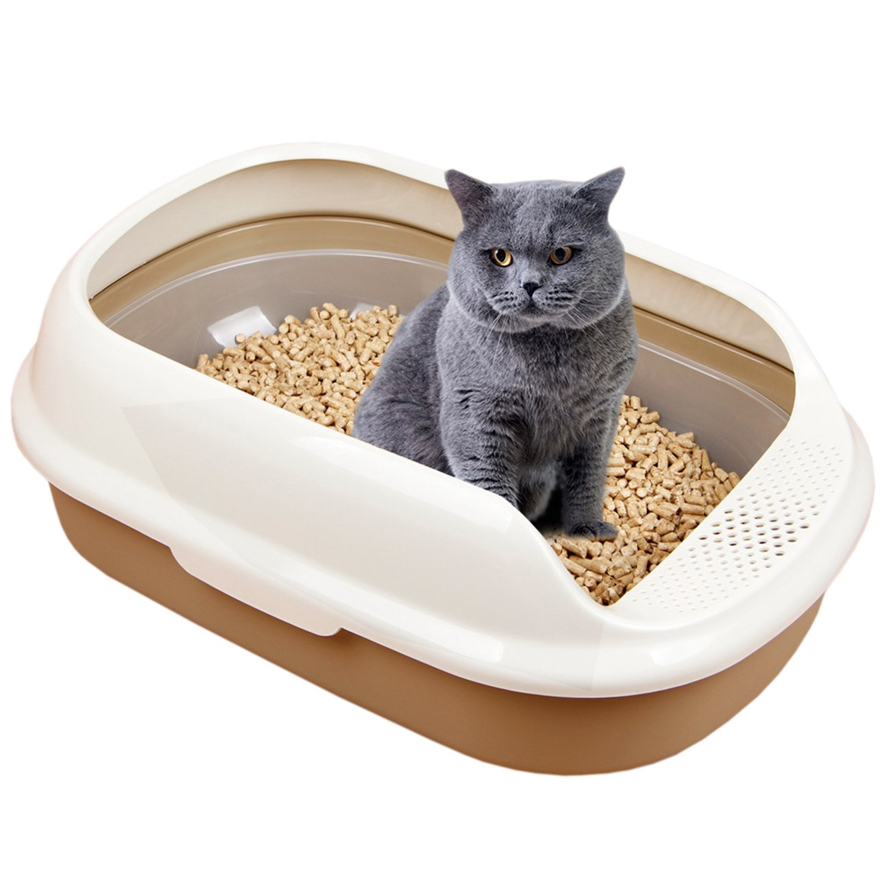 UHeng Sifting Tray Cat Semi Closed Litter Box Anti Splash Toilet