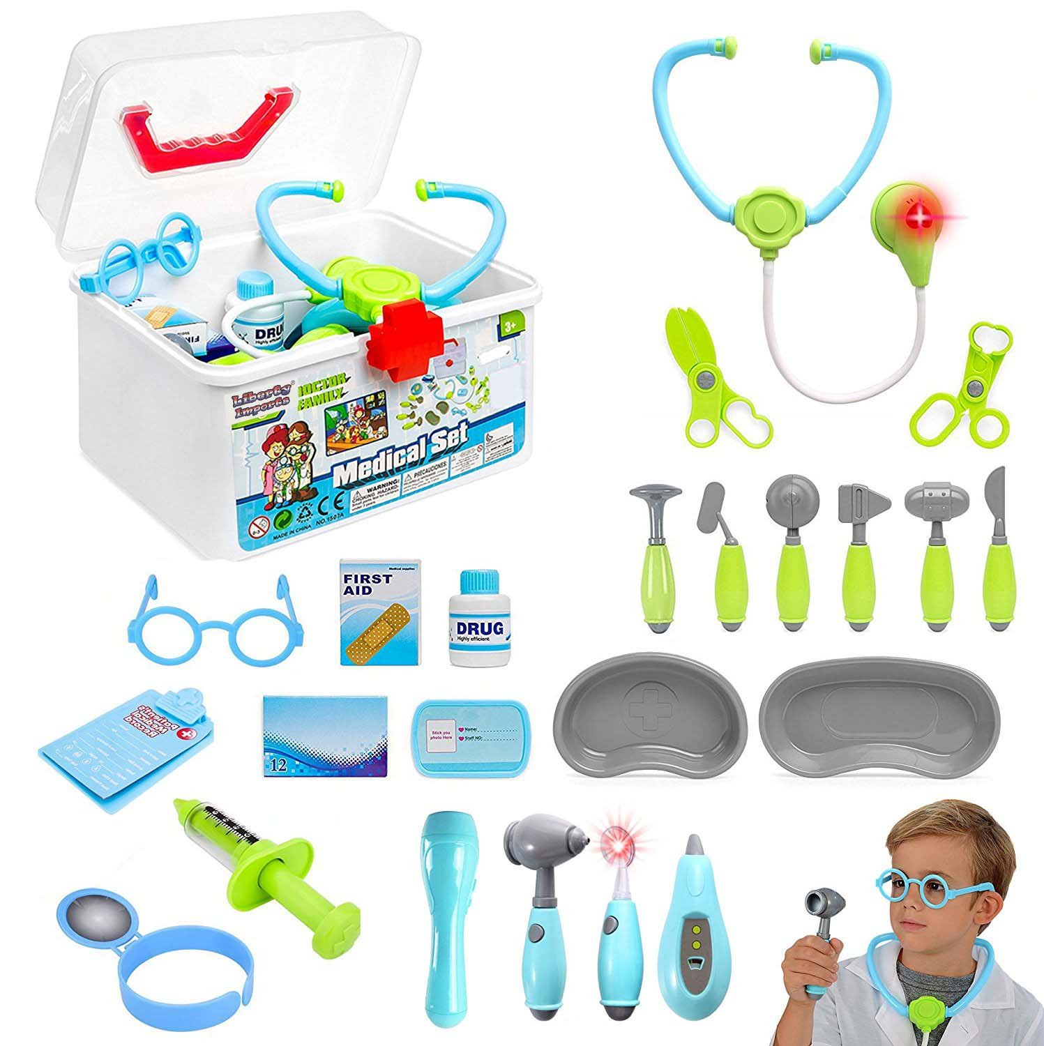Liberty Imports Kids Doctor Set - 24 Pieces Role Play Nurse Medical Box Kit with Electronic Stethoscope and Pretend Play Accessories - Educational Gift for 3, 4, 5, 6 Year Old Boys, Girls by Liberty Imports