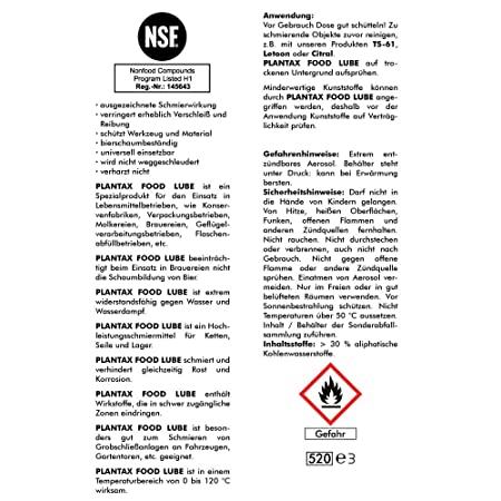 Plantax Food Lube 400ml (3575) - High Performance Lubricant NSF H1 ...