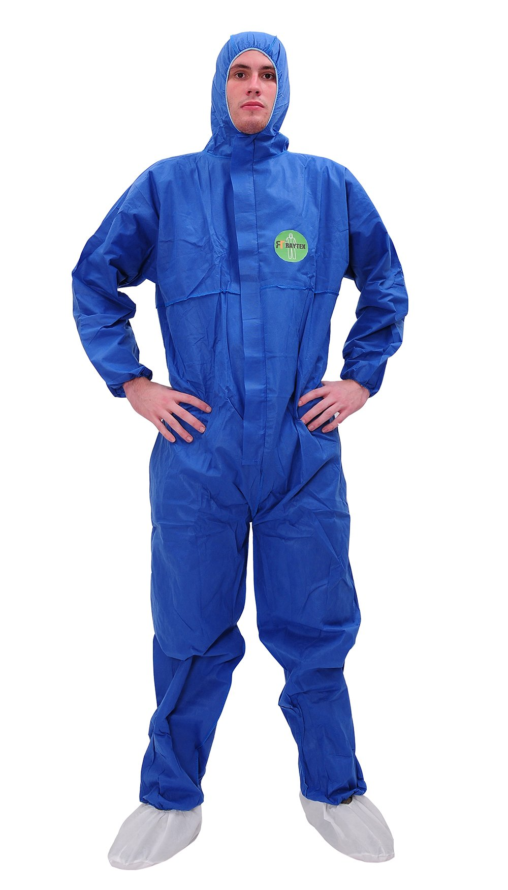 Raygard 30303 SMS Disposable Coveralls Chemical Protective Suit Elastic at Cuffs, Ankles, Hood and Waist Zip Front Serged Seams for Spray Paint Mechanic Work(Large, Blue)