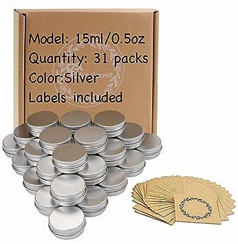 Amazon.com: Tarros de lata de aluminio con tapa de rosca y ...