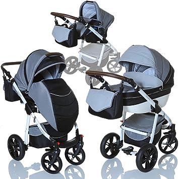 1ec318dec0 LCP Kids 3in1 Kombi Kinderwagen Lucato Luftreifen Komfort mit Pannenfrei  Garantie, Farbe:Titan
