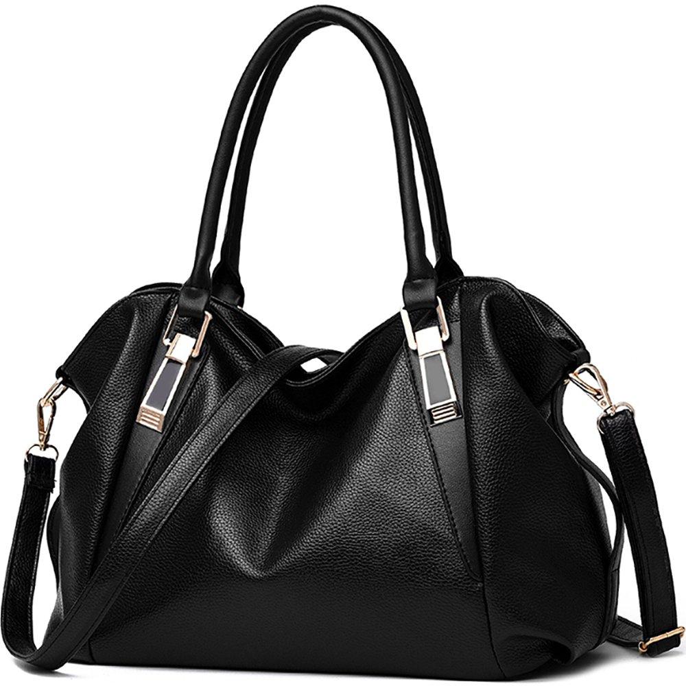 Ladies Fashion Shoulder Bags Women PU Leather Handbags Causal Hobo Purses Girls Crossbody Tote Bags,Black