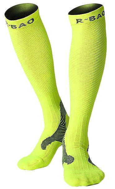 NEWZCERS Calcetines profesionales de maratón Running Calcetines largos de compresión Calcetines ciclistas Running nocturno Reflect Light