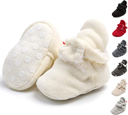 Infant Baby Girls Boys Cotton Booties Stay On Sock Slippers Soft Bottom Non-Skid Toddler Shoes First Walkers Slipper