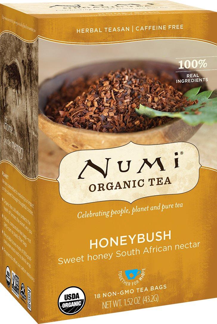 Numi Organic Tea--Honeybush--18 Count non-GMO Tea Bags--Caffeine Free Herbal Teasan--Premium Organic Non-Caffeinated Tisane