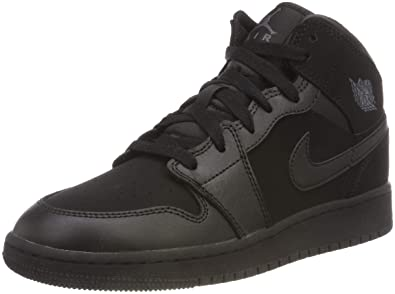 7d16793785864 Jordan Nike Boy's Air 1 Mid Basketball Shoe (GS) Black/Dark Grey 6Y