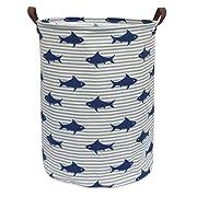 CLOCOR Large Storage Bin-Cotton Storage Basket-Round Gift Basket with Handles for Toys,Laundry,Baby Nursery (Shark)