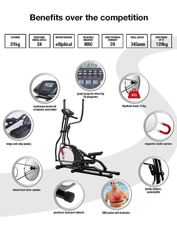 Sportstech CX630 profesional bicicleta elíptica incl. Cinturón de pulso con movimiento elíptico corriendo, inercia 21 kg, 4 x HRC - programas de ...