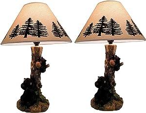 Rustic Black Bears in a Honey Tree Table Lamp Set of 2