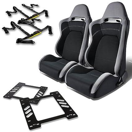 Pair of RST1PVCBK Racing Seats Black 2 4-Point Seat Belt