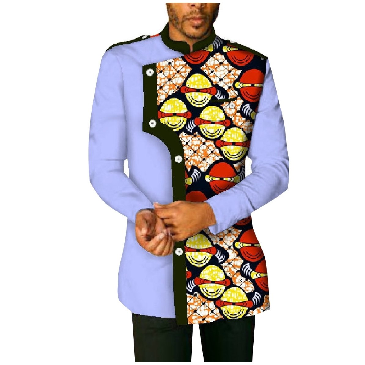 YUNY Mens Plus-Size Cotton African Printed Long-Sleeve Western Shirt Yellow 5XL