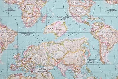 Amazon.com: HomeBuy World Map 2 Designer Curtain Upholstery Cotton on