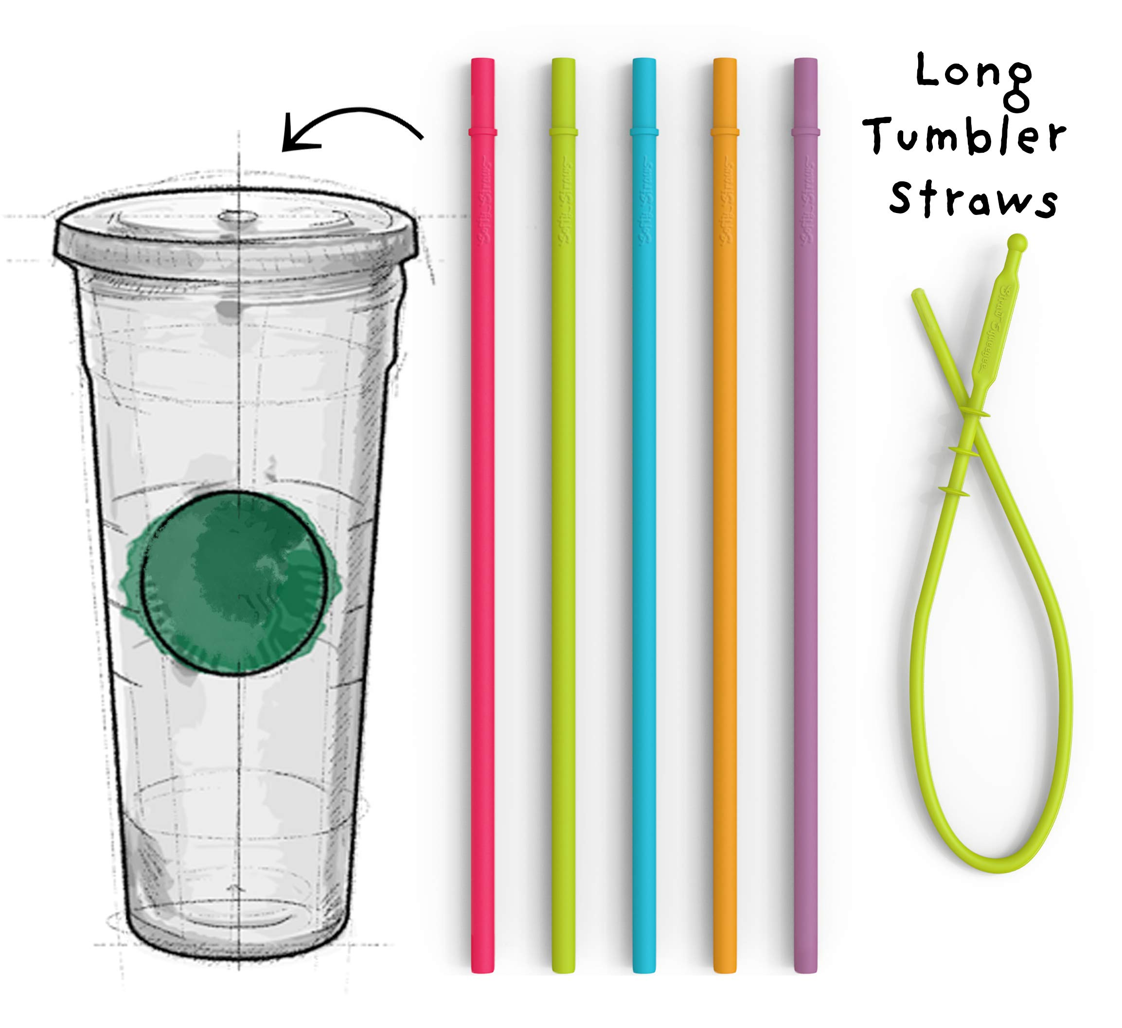 Long Silicone Straws for Tumbler - Slender Silicon Rubber Reusable Drinking Straws for Simple Modern, Starbucks, Yeti, rTic, Acrylic 24 30 40 oz Tumbler Cups - Flexible BPA Free. by Softy Straws