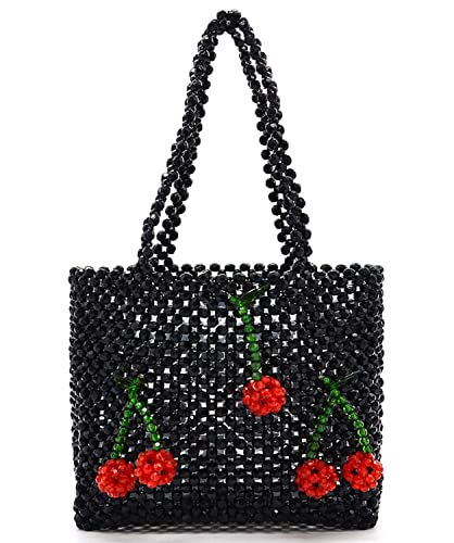 Miuco Women Handmade Handbag Beaded Weave Acrylic Cherry Clutch Bag Black   Handbags  Amazon.com 8b41e64563745