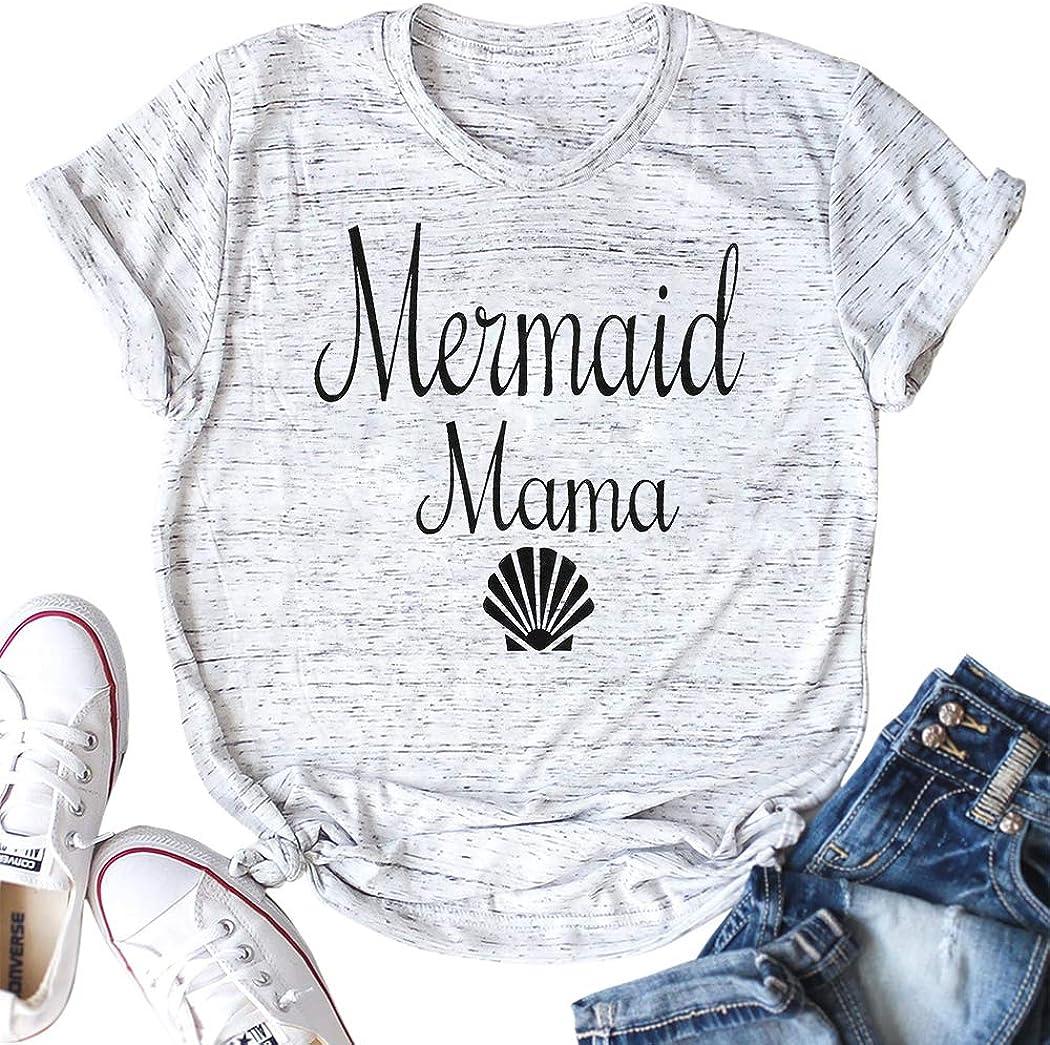 NANYUA Women Mermaid Mama Cute Shell Graphic Print Short Sleeve Casual Funny T-Shirt