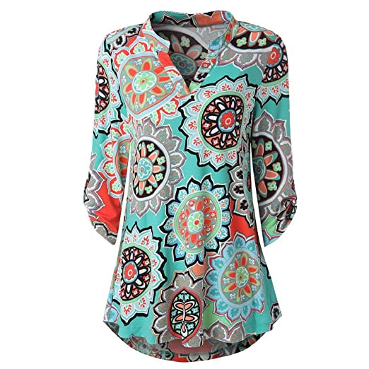 c4210a865df52b DOINSHOP Womens Floral Printed Tunic Shirts 3/4 Roll Sleeve Button Layered  Notch Neck Blouse