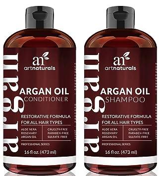 ArtNaturals Champú Orgánico Marroquí Champú y Acondicionador de Aceite de Argan (2 x 16 Oz) - Sin ...