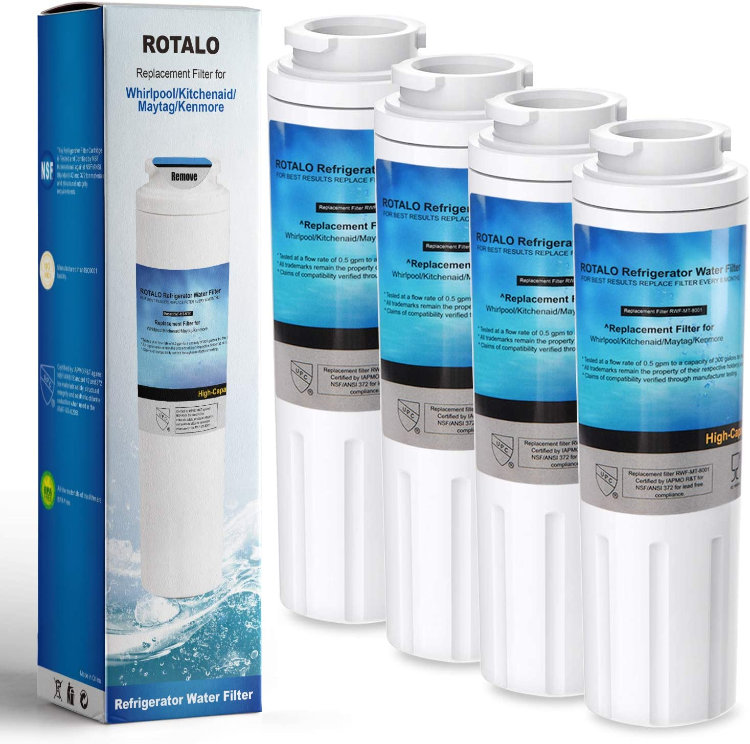 UKF8001 Refrigerator Water Filter, ROTALO NSF 42&372 Certified Replacement for Maytag UKF8001 Refrigerator Water Filter, Pack of 4