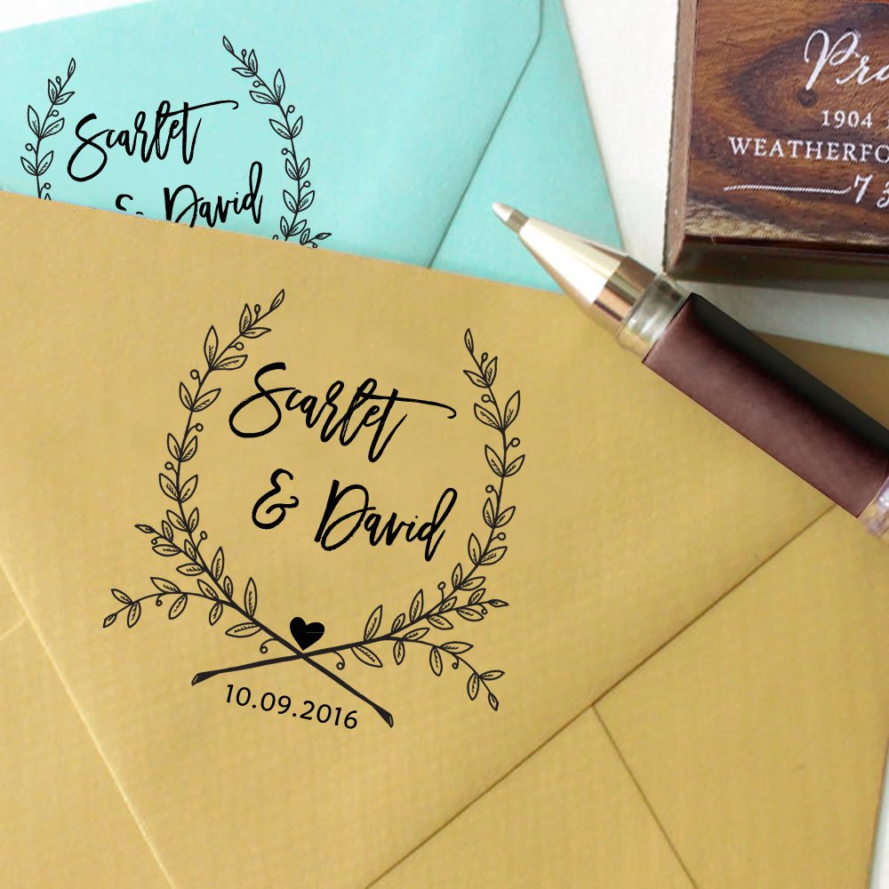 Custom Self Inking Save The Date Stamps Personalized Round Wedding ...