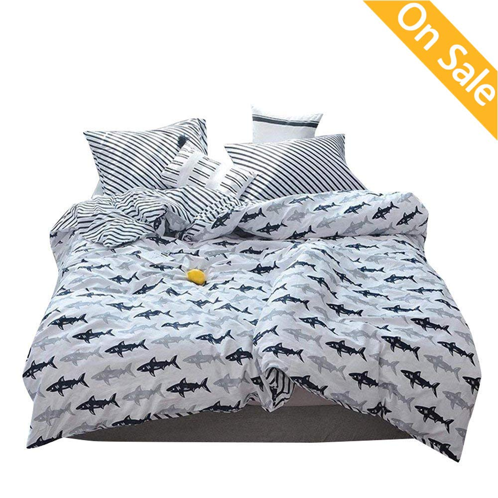 【Latest Arrival】 Shark Whale Animal Cartoon Children Kids Duvet Cover Set Queen 3 Pieces Stripes Cute Comforter Cover Full Navy Blue with 2 Pillow Shams for Adults Teens Toddler,NO Comforter NO Sheet
