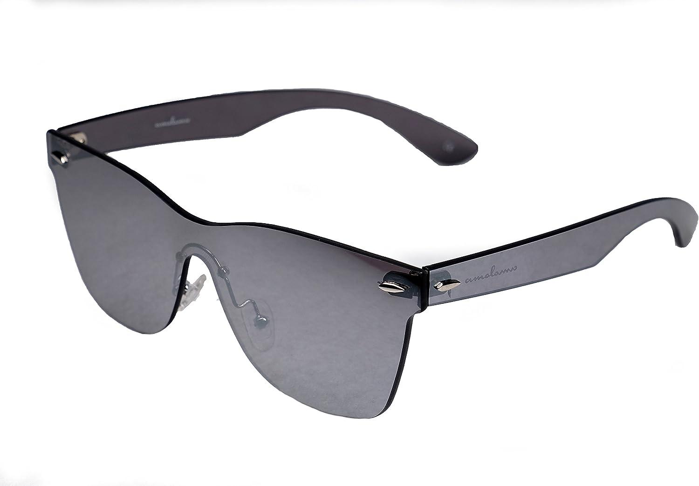 amoloma estilo sin marco sin rebordes de las gafas de sol Wayfarer reflejado plata